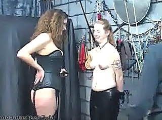 Sex Slave Gets Bound By Leather Cuffs