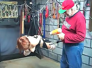 Sexy mature redhead gets her pussy toyed then gets abused in the du...