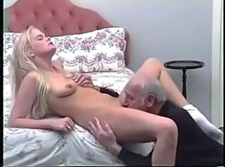 blonde girl casting with grandpa