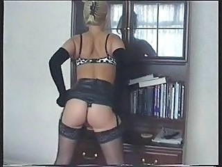 British girl Rachel plays with herself in the Living room