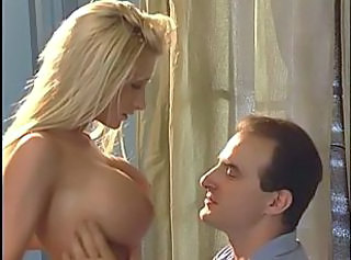 Blonde with beautiful breasts gives head
