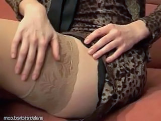 Hot bitch gets banged in sexy black stockings