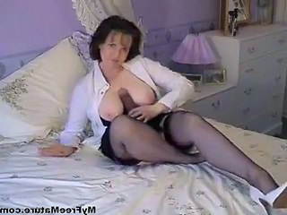 Granny Dildo Brunette Cumshot Ass Cumshot Mature Granny Stockings
