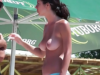 Beach Brunette  Teen Beach Teen Beach Tits