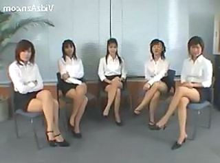 5 Girls In White ShirtBlack Skirt GivingHandjob..