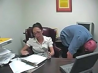 Office Secretary Brunette Foot Footjob