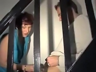 German clean up lady fucked on the stairs