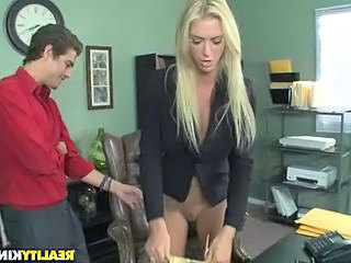 Secretary Babe Blonde Office Babe