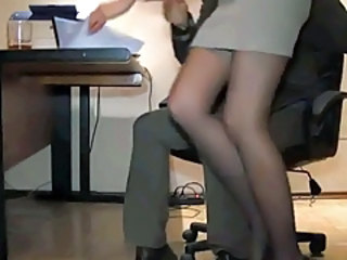 HiddenCam Legs Secretary Boss Stockings