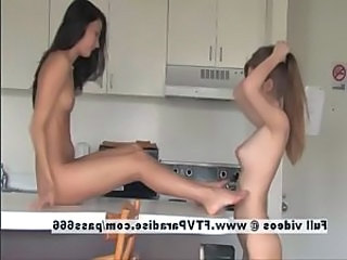 Faye and larysa adored lesbians in the kitchen