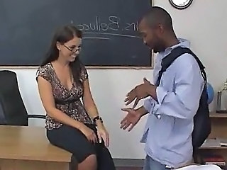 Female brunette white teacher with male black student   Interracial