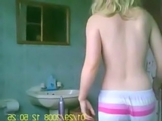 Blonde teen before shower