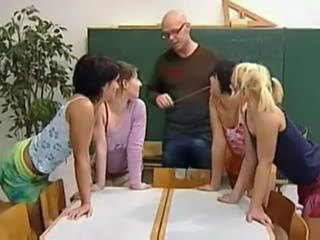 One Lucky Dude Has Four Hot Teens To Suck And Fucks His Cock