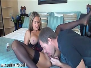 Naughty brunette milf with large tits gets her hsvaed nookie...