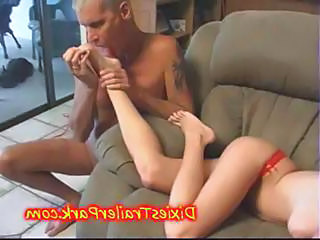 FOOT FETISH  Daddy Cums On His Sleeping Teen DAUGHTERS FEET