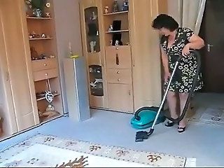 Chubby mature loves pantyhose and vacuum cleaner