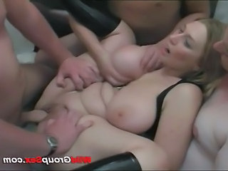 Wild group sex big boobs babe gets gang banged hard