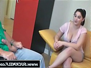 Busty brunette mom sucks on his cock and then a friend helps
