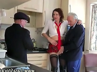 Mature British Stocking Slut Foreplay Threesome