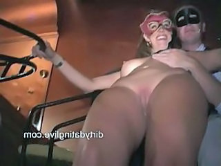 Masked milfs tara jean and amy suck cock and get fucked hard