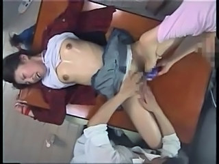 Japanese teen tied on table and  cum