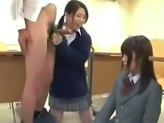 Shy Asian Schoolgirl Giving Blowjob For Schoolguy With Other Schoolgirl Cum...