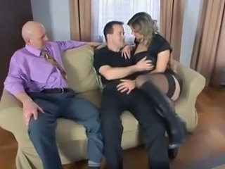 Sexy bisex three-some sex with older man