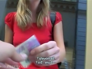 CZECH STREETS - VERONIKA BLOWS DICK FOR CASH from http://czech.oqps.net free