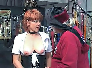 Hot, mature redhead gets her pussy toyed with, sucks dick in a sex ...
