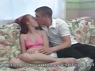 Redhead Teen Nailed On The Couch