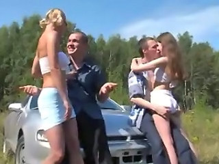 Hot outdoor russian foursome...
