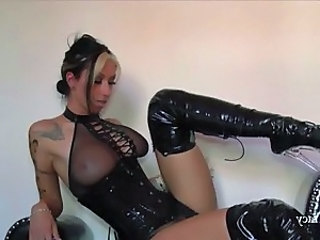 Latex Tattoo Babe Corset Jerk