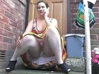 CHUBBY GIRL UPSKIRT  WITH PANTIES ON