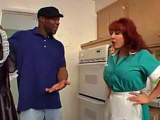 Maid Uniform Interracial Kitchen Sex