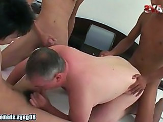 Old And Young Blowjob Gangbang