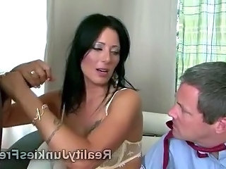 Gorgeous brunette MILF fucks with black thug in front of her poor stupid cuckold husband