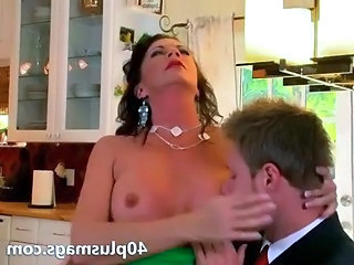 Ugly mom seduces a younger guy