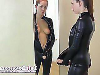 Lelu Lovecatsuit Mirror Kissing Masturbation Instruction