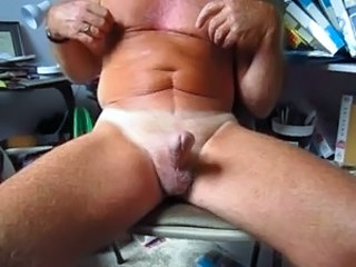 75 year old Grandpa handles his circumcised cock