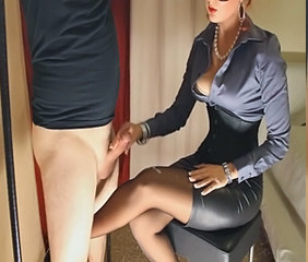 Amazing Handjob Legs Handjob Cumshot Milf Stockings Nylon