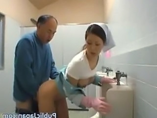Old And Young Nurse Toilet Nurse Asian Nurse Young Old And Young