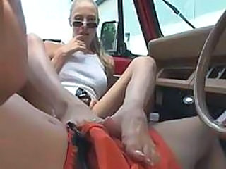 Feet Blonde Car Blonde Teen Car Teen Glasses Teen