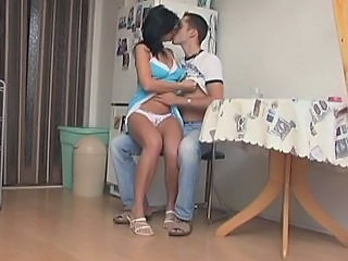 Brunette Kissing Kitchen Mom Son Son