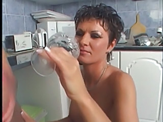 Horny chick banged in the kitchen Stream Porn
