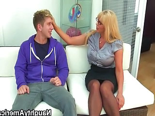 Blonde big breasted teacher fucks student