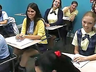 Classroom Blowjob Lessons with Hot Schoolgirl Sluts