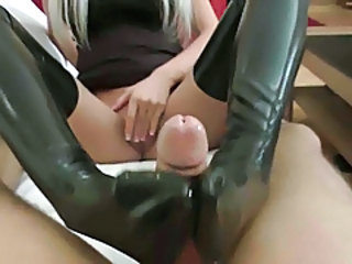 Blonde Feet Latex Foot Footjob