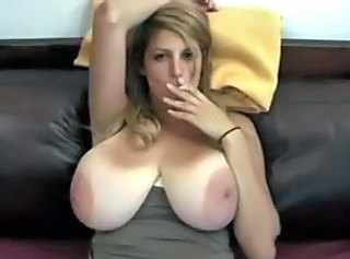 Big tit milf smoking