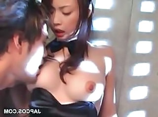 Asian sex doll in bunny suit gets cunt teased
