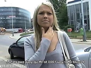 Cash European Outdoor Blonde Teen Czech Outdoor